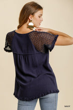 Load image into Gallery viewer, Yesterday Is Over Floral Crochet Top - Navy