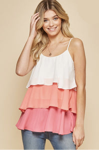 Happiest With You Tiered Tank - Coral