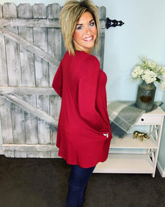 Long Sleeve Swing Tee with Pockets - Ruby Cab