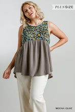 Load image into Gallery viewer, A Fine Day Mixed Materials Tank - Mocha/Olive