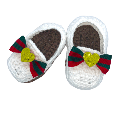 Crochet Baby Bowknot Gold Heart Shoes- Optional Headband - Crochet World Art
