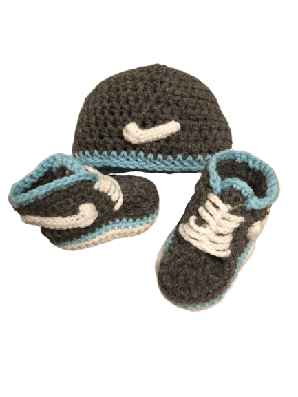 Gray Bluish Baby Crochet Inspired by Nike Shoes-Optional Hat - Crochet World Art