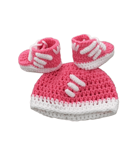 Pinkish Baby Crochet Inspired by Adidas Shoes-Optional Hat - Crochet World Art