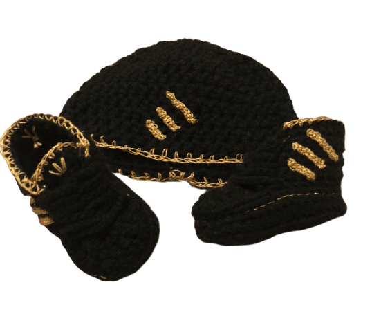 Gold Black Baby Crochet Inspired by Adidas Shoes-Optional Hat - Crochet World Art