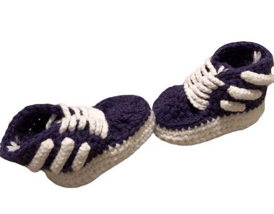 Purple Baby Crochet Inspired by Adidas Shoes-Optional Hat - Crochet World Art