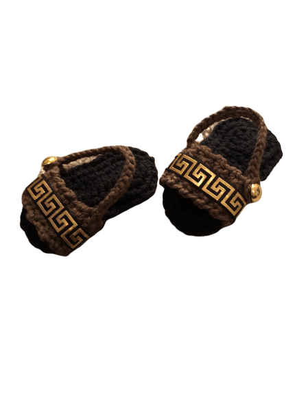 Baby Crochet Gold Greek Key/Meander Sandals- Optional Headband - Crochet World Art