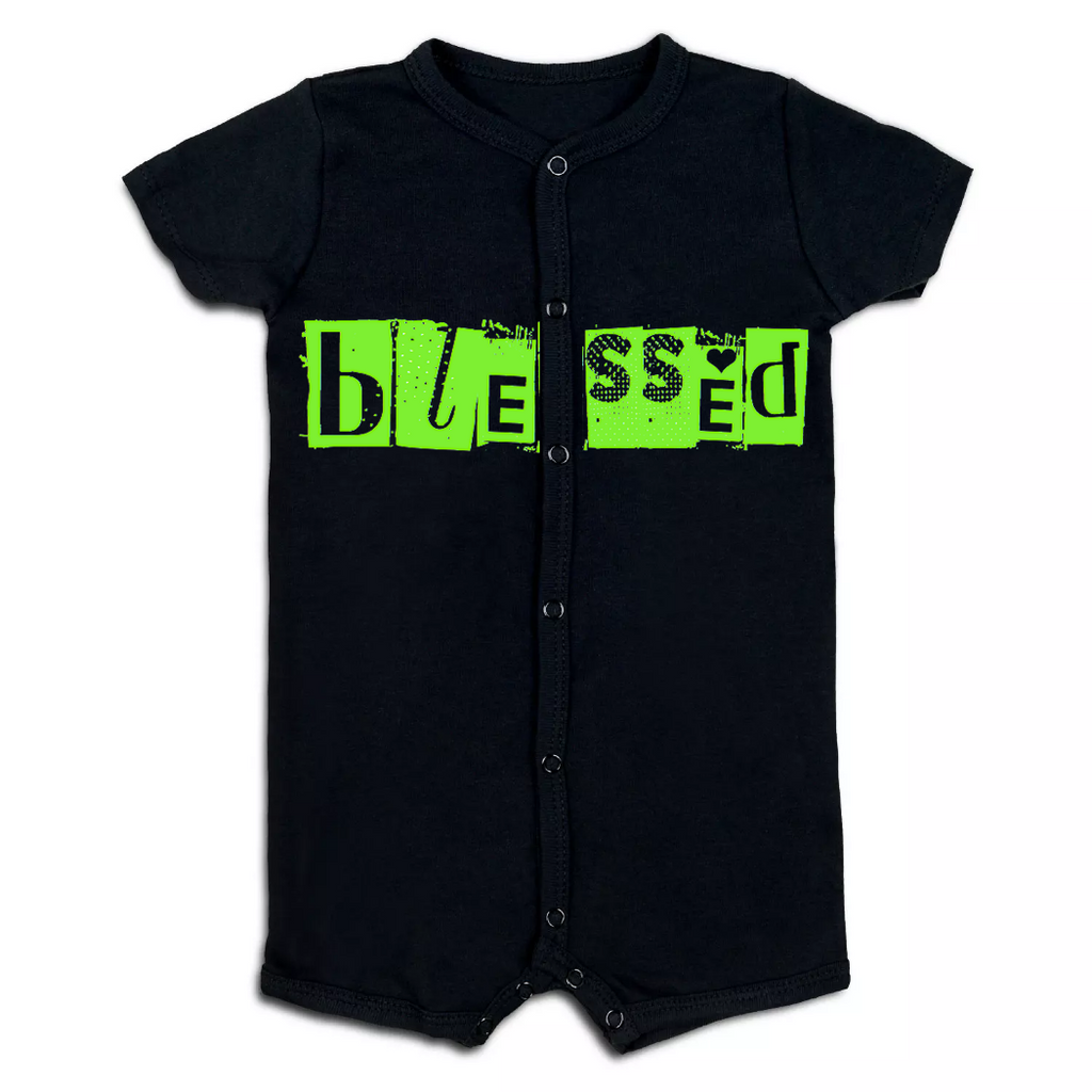 Blessed Neon Green Baby Summer Romper