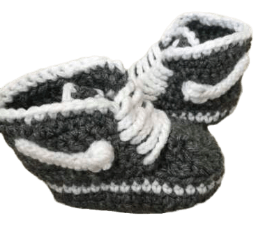 Gray Baby Crochet Inspired by Nike Shoes-Optional Hat - Crochet World Art