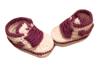 Purple Baby Crochet Inspired by Nike Shoes-Optional Hat - Crochet World Art