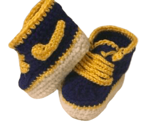 Blue Navy Baby Crochet Inspired by Nike Shoes-Optional Hat - Crochet World Art