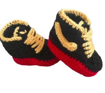 Red,Yellow Baby Crochet Inspired by Nike Shoes-Optional Hat - Crochet World Art