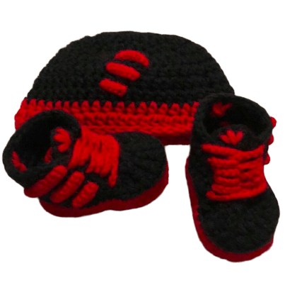 Black Red Baby Crochet Inspired by Adidas Shoes-Optional Hat - Crochet World Art