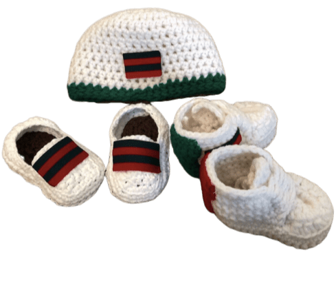 Baby Crochet White/Green/Red Shoes-Optional Hat and Loafers - Crochet World Art