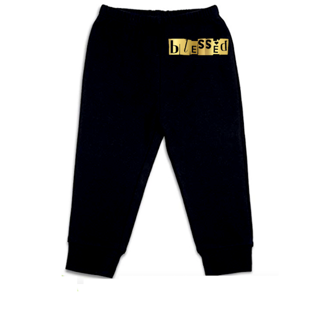 Blessed Gold Baby Pants [Black]