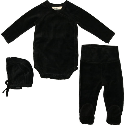 Urbani Black Velour Set With Bonnet