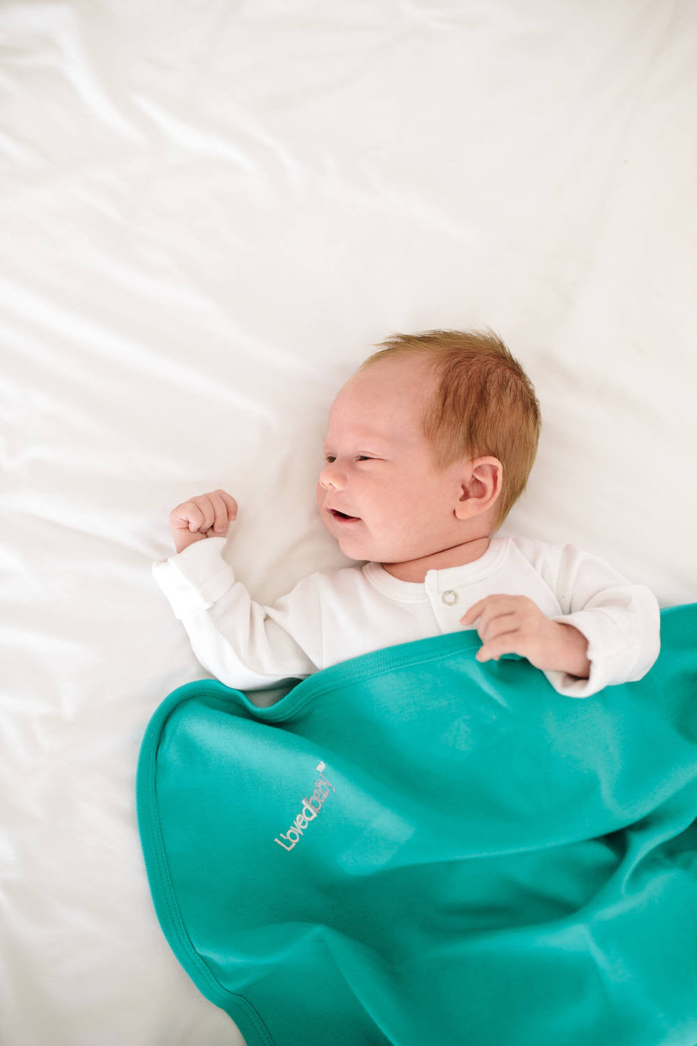 L'OVEDBABY Organic Teal Swaddling Blanket