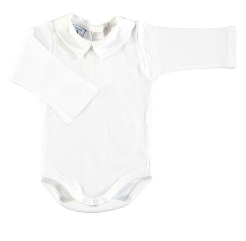 Babidu White Polo Collar Romper