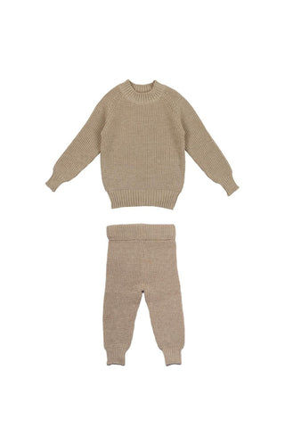 Belati Oatmeal Chunky Textured Knit Set