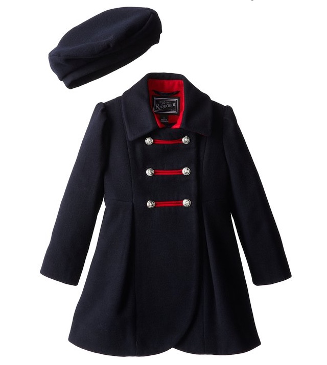 Rothschild Navy Faux Wool Petal Front Military Coat With Hat - Young Timers Boutique  - 1