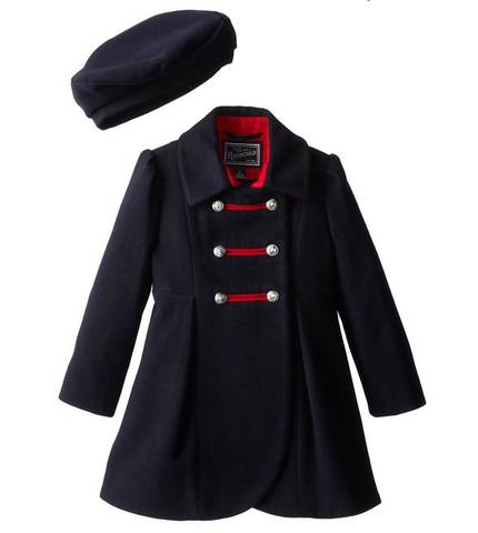 Rothschild Midnight Faux Wool Petal Front Military Coat With Hat - Young Timers Boutique  - 1