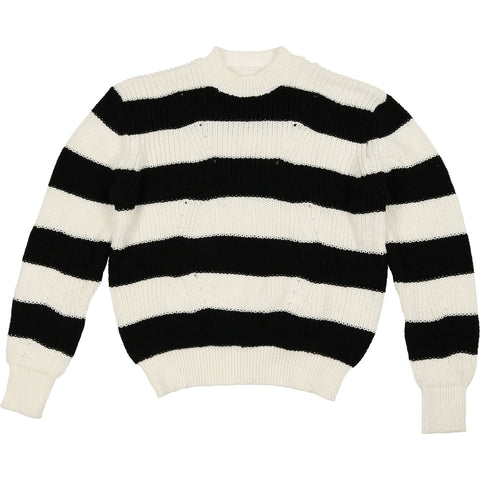 Urbani Black & Cream Stripe Knit Sweater