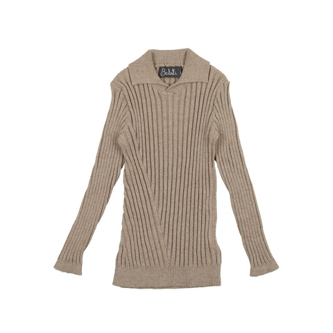 Belati Oatmeal Multi Directional Ribbed Sweater