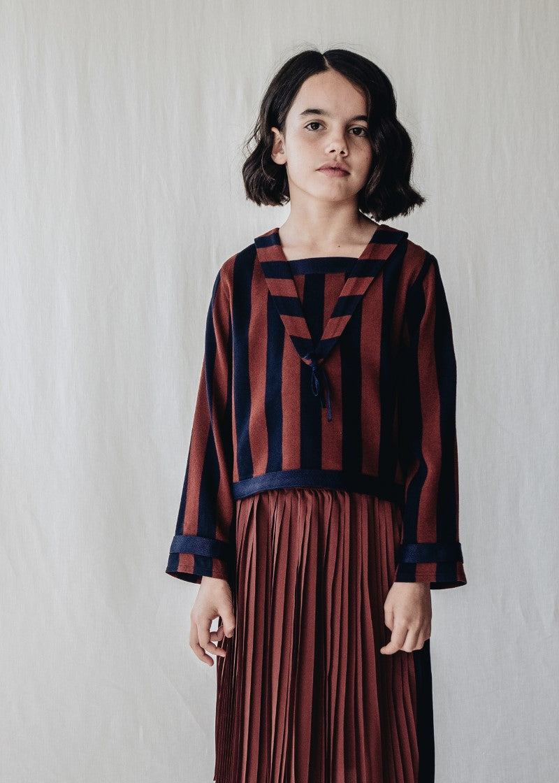 Belle Chiara Navy & Russet Striped Blouse