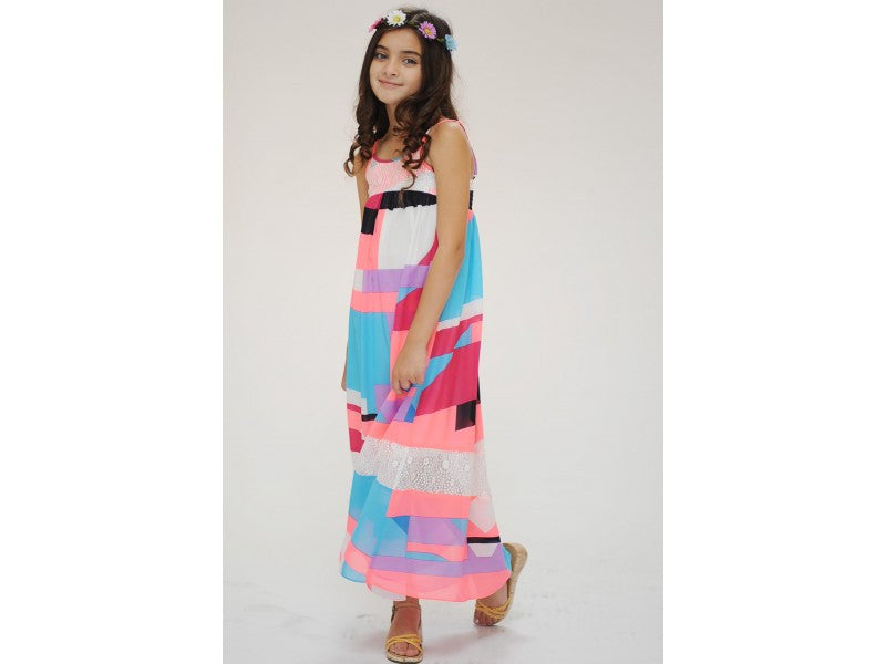 Truly Me Geometric Maxi Dress With Lace Overlay On Yoke - Young Timers Boutique  - 2