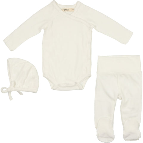Urbani Cream Velour Set With Bonnet