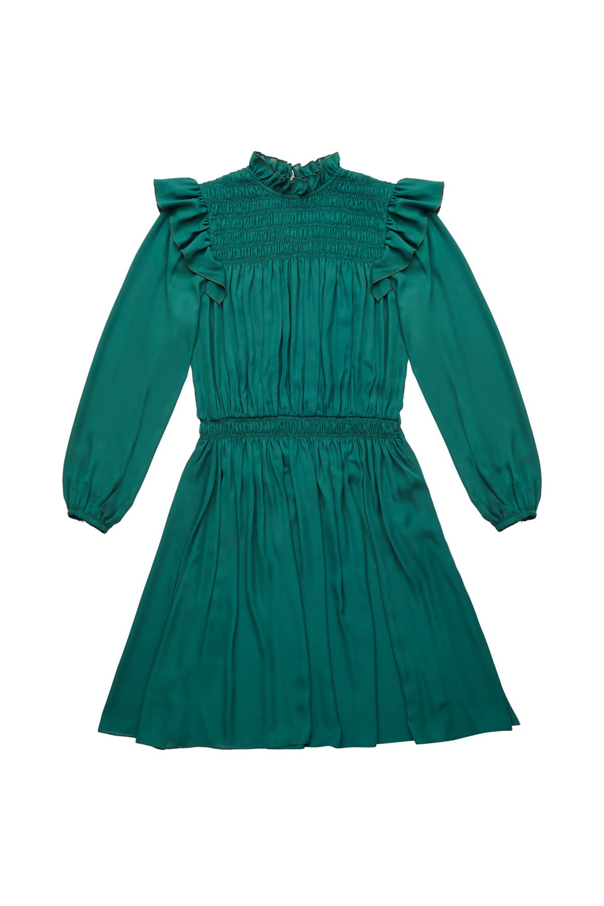 Zaikamoya Green Smocked Dress