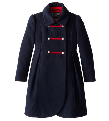 Rothschild Midnight Faux Wool Petal Front Military Coat - Young Timers Boutique  - 1