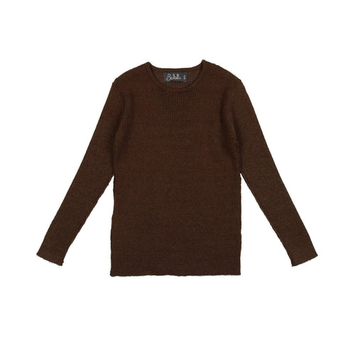 Belati Marled Brown Basic Crew Neck Sweater