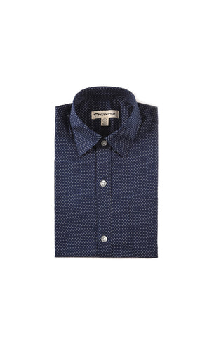 APPAMAN STANDARD NAVY DOTS SHIRT - Young Timers Boutique  - 1