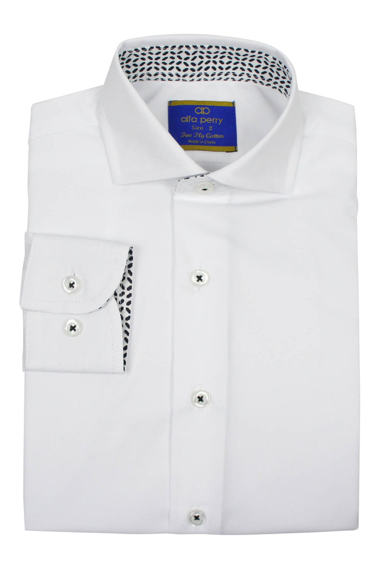 Alfa Perry Boys' Black Diamond Contrast Dress Shirt