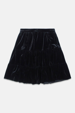 Alitsa Black Velvet Tiered Skirt