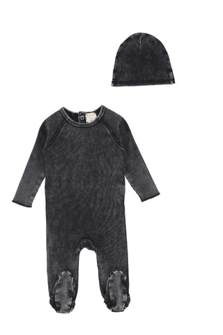 Analogie Black Wash Denim Footie & Beanie Set