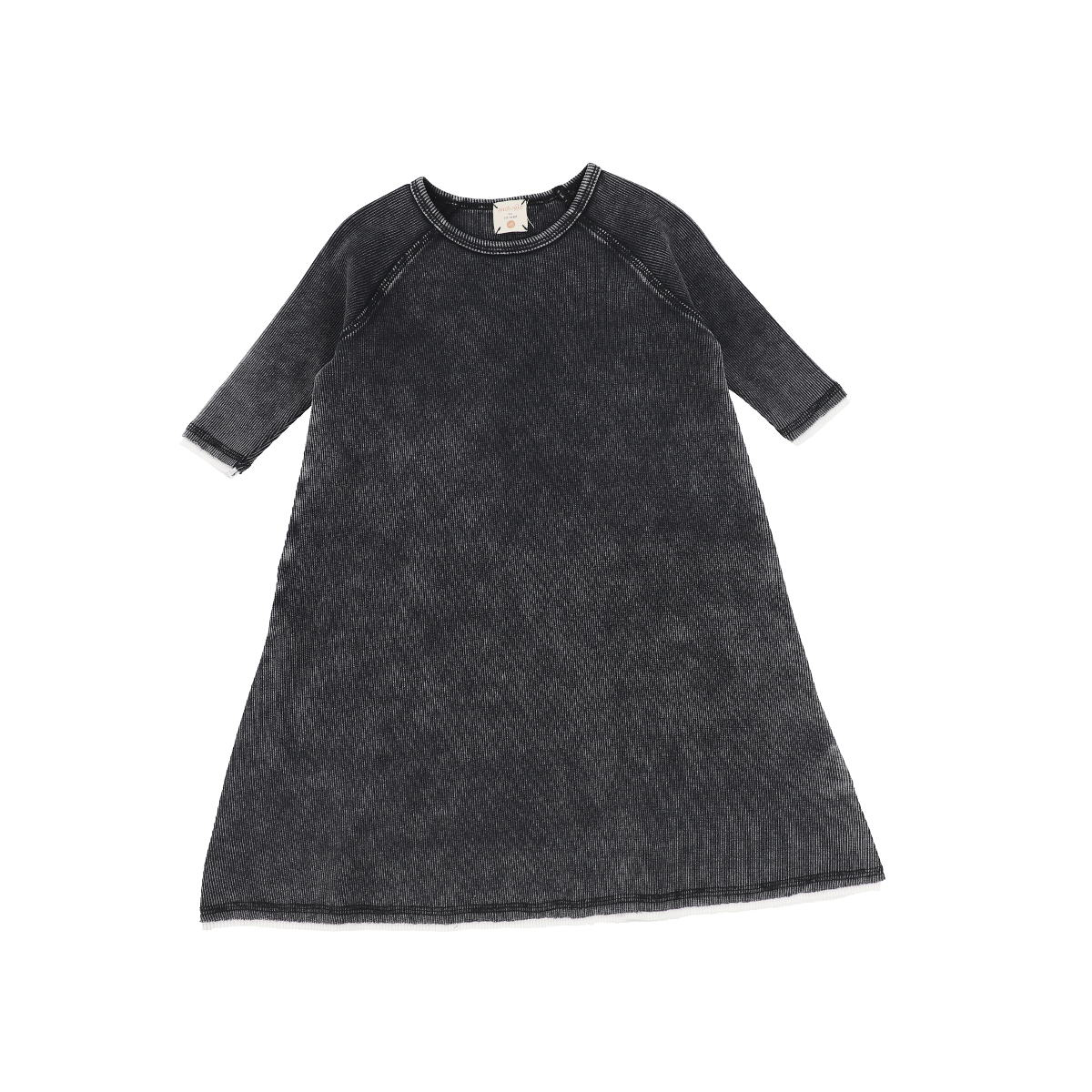 Analogie Black Wash Denim Three Quarter Sleeve Dress