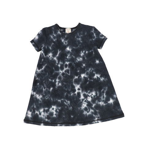 Analogie Black Watercolor Short Sleeve Dress