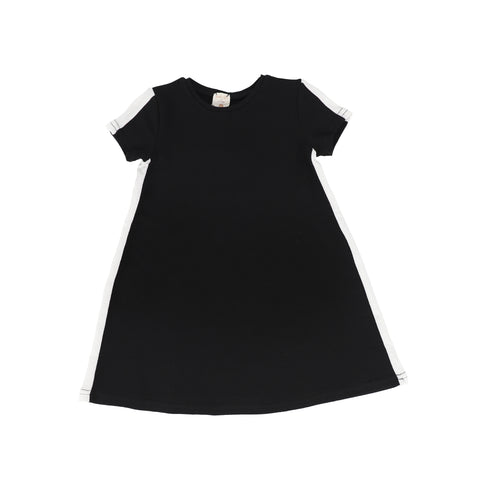 Analogie BlackWhite Short Sleeve Linear Dress