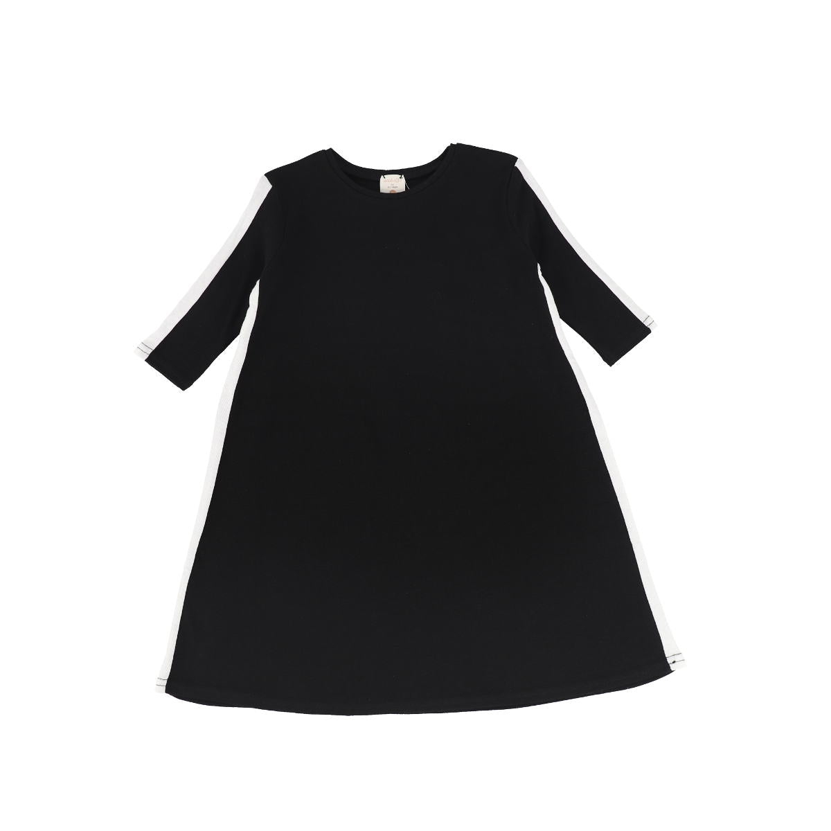 Analogie BlackWhite Three Quarter Sleeve Linear Dress