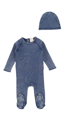 Analogie Blue Wash Denim Footie & Beanie Set