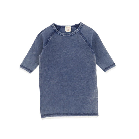 Analogie Blue Wash Denim Three Quarter Sleeve Tee