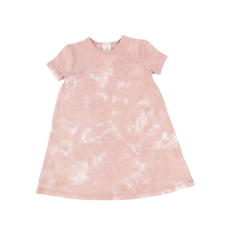 Analogie Blush Watercolor Short Sleeve Dress