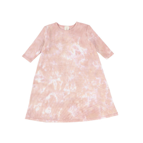 Analogie Blush Watercolor Three Quarter Sleeve Dress