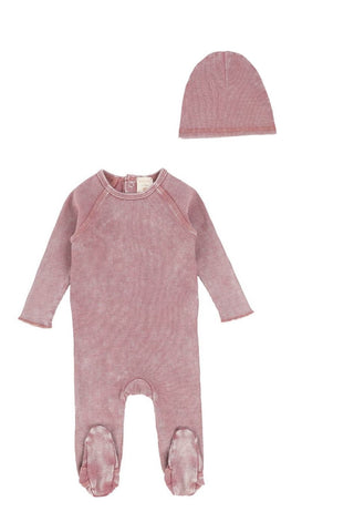 Analogie Pink Wash Denim Footie & Beanie Set
