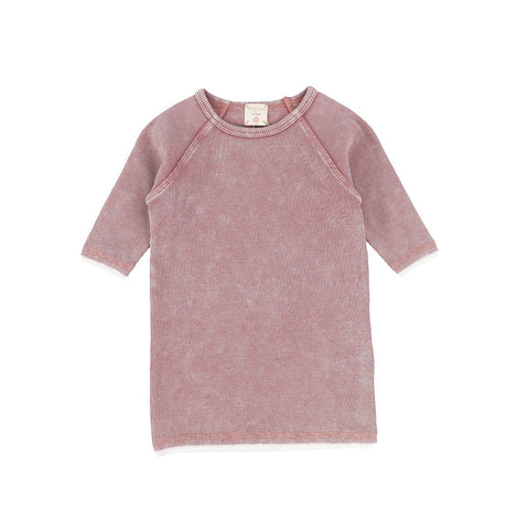 Analogie Pink Wash Denim Three Quarter Sleeve Tee