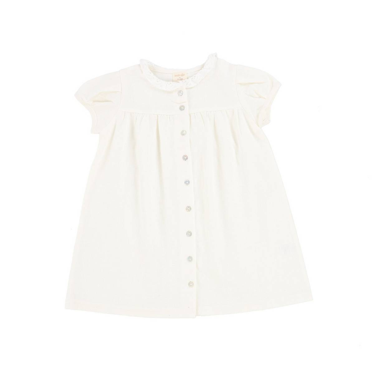 Analogie White Short Sleeve Linen Collar Dress