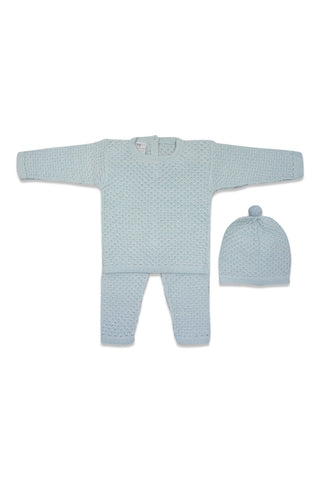 Antonella Blue Knit Pom Pom Set