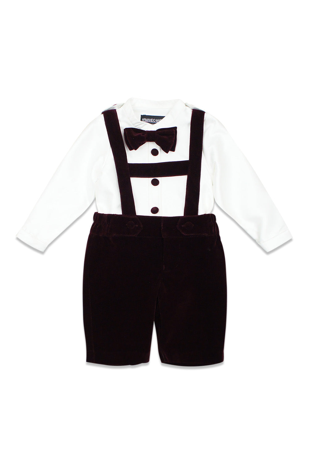 Armando Martillo Burgundy Two Piece Velour Suspenders Set