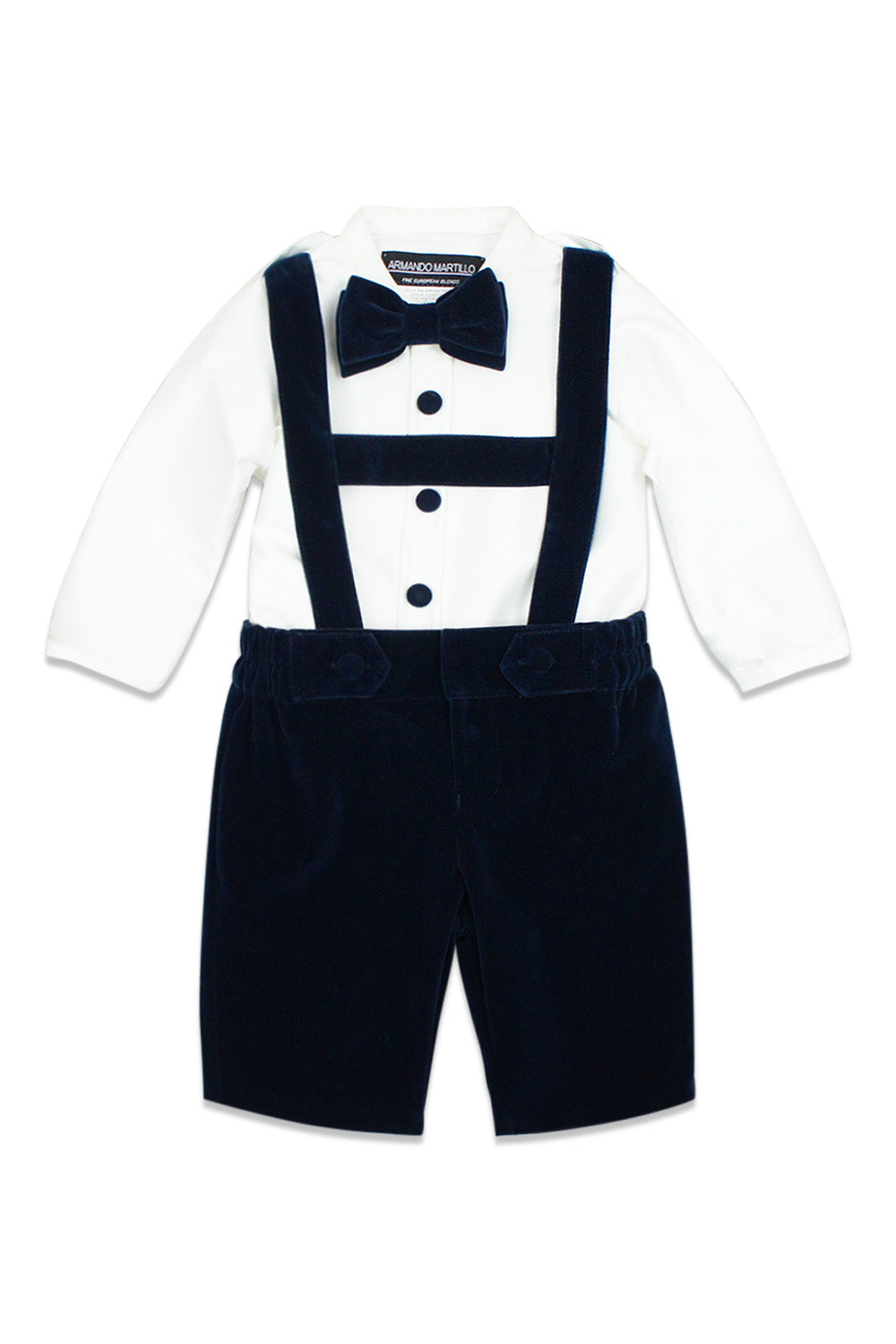 Armando Martillo Indigo Two Piece Velour Suspenders Set